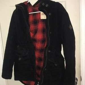 Black Hollister parka with flannel interior